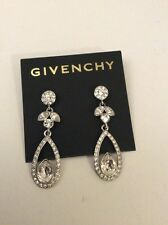 GIVENCHY Earrings pave crystal  Silver Tone tear drop nwt $58  item 98 D GE