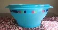Tupperware NEW Salad Bowl 17 cup  Tropical Water Aqua Blue Servalier SUMMER JAM