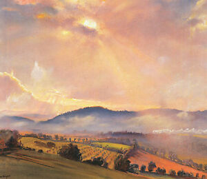 Autumn Sunset, Herefordshire, Laura Knight print in 10 x 12 inch mount SUPERB