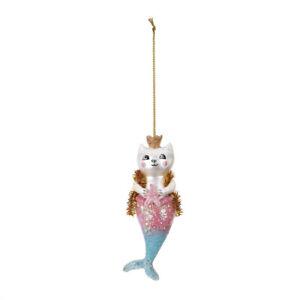 Purrmaid Mermaid Magical Pink Glitter 5 x 2 Resin Stone Holiday Ornament
