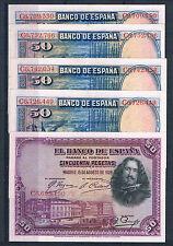 LOTE DE 5 BILLETES DE 50 PESETAS DE 1928 EBC++/SC-