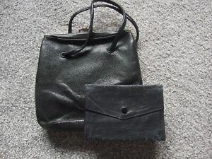 Antique Vintage leather bag with purse