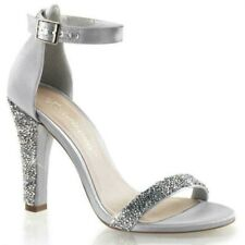 pleaser Fabulicious CLEARLY-436 GREY Satin Open Toe Rhinestone High Heels us 10