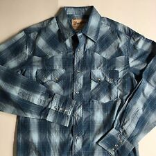 WRANGLER Blue Plaid Men's Medium Western Shirt M Snap Front Cowboy