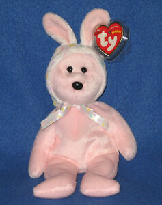 TY BONNET the EASTER BUNNY BEAR BEANIE BABY - MINT with MINT TAGS