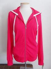 MICHAEL MICHAEL KORS MS SIZE MEDIUM ROSE RED WITH WHITE TRIM ZIP FRONT HOODIE
