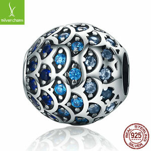 Fit Women Authentic 925 Sterling Silver Daughter Of Sea Blue CZ Fish charm Beads