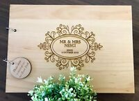 Personalised Mr & Mrs with Floral Frame Wedding / Engagement Wooden Guest Book