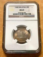 Malaysia 20 Sen 1968 Parliament coins NGC MS65