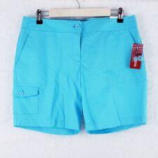 IZOD Women Shorts 5 Pockets Stretch 100% Cotton Color Blue Size 10 (34x7)