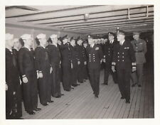 KING GEORGE VI INSPECTS SEAMEN ON USS AUGUSTA PRIOR TO D DAY INVASION-1944