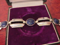 Hübsches 800 Silber Armband Jugendstil Art Deco Lapislazuli Blau Breit Schwer