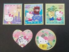 JAPAN USED 2010 HELLO KITTY 80 yen 5 VALUE VF COMPLETE SET SC# 3232 a - e