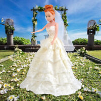 Hot Princess Wedding Party Dress Clothes Outfit Gown + Veil Set for Barbie Doll