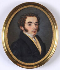"""Quignon """"Portrait of a young gentleman"""", fine miniature, 1828"""