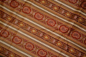 "Waverly Sedrick Stripe Fabric Cotton 1 & 2/3 yd x 53"" wide Brown Green Tan L23A"