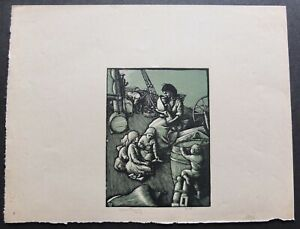 """Allen Lewis Color Woodcut Print Of Young Family On A Ship Signed 9.25"""" X 12.5"""""""