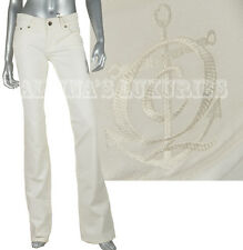 ALEXANDER MCQUEEN JEANS WHITE COTTON MARINE ANCHOR FLARED PANTS IT 38 US 2