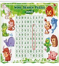Word Search Puzzle Pattern Shower Curtain Fabric Decor Set with Hooks 4 Sizes