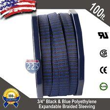 "100 FT 3/4"" Black Blue Expandable Wire Sleeving Sheathing Braided Loom Tubing US"