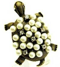 New Unusual Bronze Tone Crystal White Faux Pearl Turtle Cocktail Ring