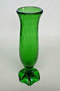 1970 Cedar Point Souvenir Hand Blown Glass Vase Green Pretty Sandusky, Ohio