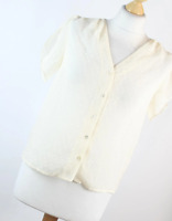 H&M Ivory Spotted Womens Blouse Size 8 (Regular)