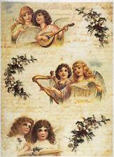 Carta di riso-ANGELI MUSICISTI 03-per decoupage scrapbooking Foglio