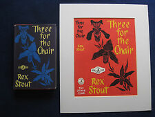 ORIGINAL DUST JACKET PAINTING for REX STOUT'S Novel THREE FOR THE CHAIR wi Book