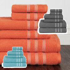 Textured Bath Towel Set 6 pc White Borders Plush Combed Cotton Towels 3 Colors