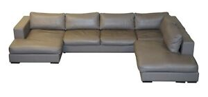 SUBLIME RRP £18,000 BO CONCEPTS CENOVA GREY LEATHER CORNER SOFA CHAISE SEATS 5-6