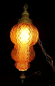 Mid Century wall hanging swag lamp ball light amber gold glass globe disco retro
