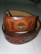 CHAMBERS  Tooled Leather Belt With Buckle