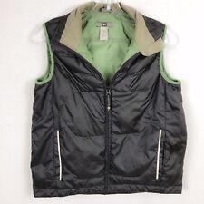 REI Men S Juniors XL Goose Down Green Charcoal Gray Vest Jacket Zip Up
