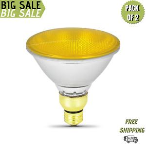 Sterl Lighting Pack Of 2 PAR38 Yellow Bug Halogen Floodlight 70W/120V E26 Base