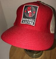 Vintage BROWNELL ELECTRO 70s 80s USA Made Red White Trucker Hat Cap Snapback