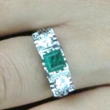 Vintage Platinum Fine Square Emerald & Round Diamond Ring 1.30ctw - 1.35ctw