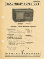 Blaupunkt US4 Röhrenradio 1949 - 50 ORIGINAL Schaltplan selten