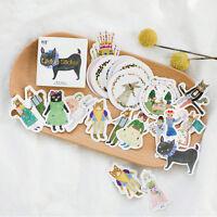 45pcs/lot DIY Cute Kawaii Cat Rabbit Fox Sticker Lovely Animal Diary Stickers