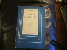 Verlaine Poemes Saturniens (Centaur Press) 1946 In French Hb Dust jacket
