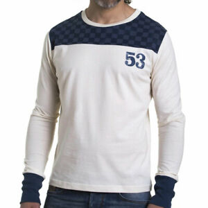 Fuel Motorcycles Desert Long Sleeves T-Shirt Old White / Blue