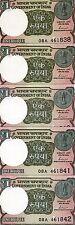 LOT India,  5 x 1 Rupee, 2017, P-New, New colors, New Signature, Letter L UNC