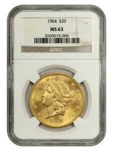 1904 $20 NGC MS63 - Liberty Double Eagle - Gold Coin
