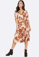 Womens Floral Print Ruffled Tiered Hem Wrap Midi Casual Day Ruched Sleeve Dress
