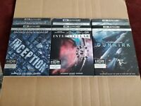 Inception Interstellar Dunkirk: w/RARE Slipcovers (4K HD & Blu-ray) No Codes