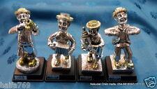 4 Jewish Hassidic Kleizmer  Player Figurine Hasidic  Jerusalem gift silver plate