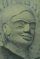 Beau dessin ancien Indochine portrait tête de  Boudha art deco Asia drawing 1930