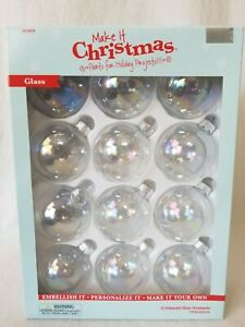12 pcs Clear Iridescent Glass Ball Christmas Ornament Wedding Baubles Gift NWT