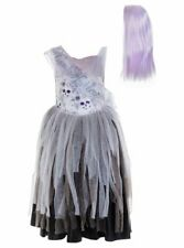 NEW Girls Miss Halloween Gothic Bride Halloween Costume Outfit with Wig age 7-8