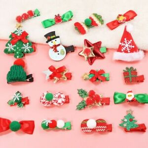 Christmas Hair Clip 5Pcs Accessory Xmas Sparkly Bows Green Red Gold